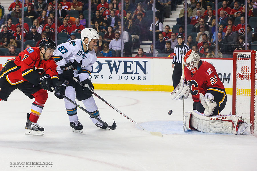 nhl hockey calgary flames vs san jose sharks sergei belski photo