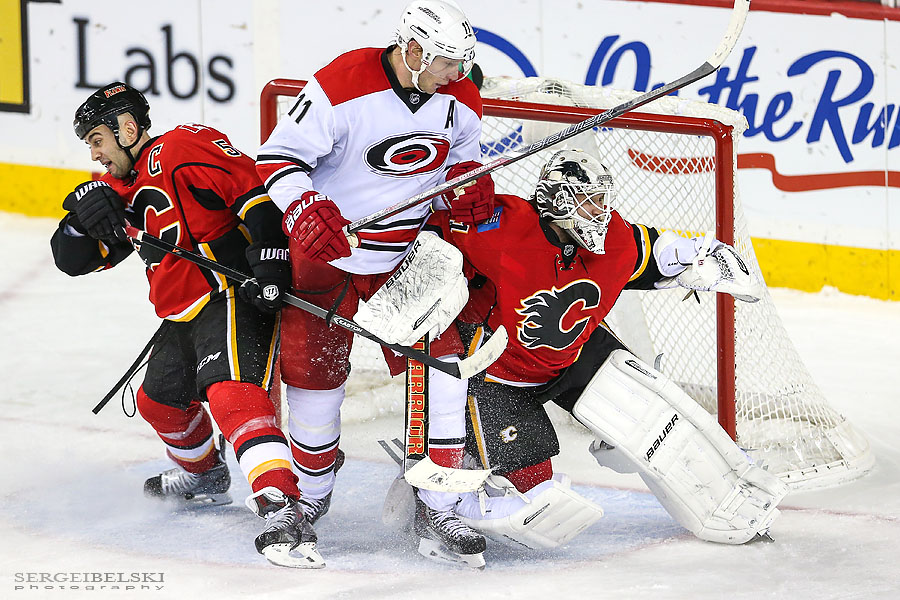 nhl hockey calgary flames vs carolina hurricanes sergei belski photo