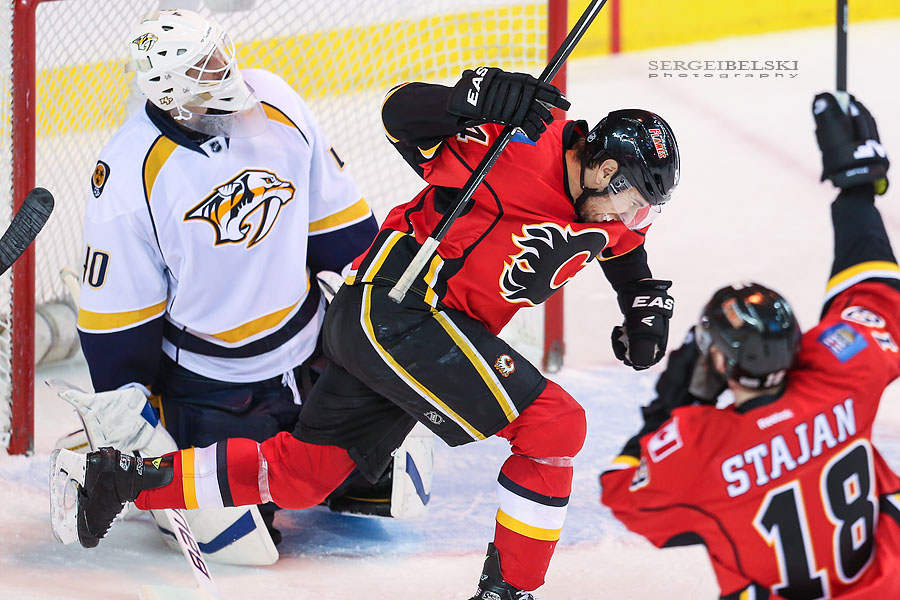 nhl hockey calgary flames vs nashville predators sergei belski photo